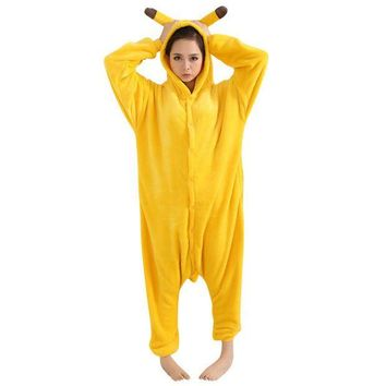 CREYET7 New Design Warm Winter Unisex Adult Onesuit Kigurumi Pajamas Anime Costume Pikachu Sleepwear DM#6
