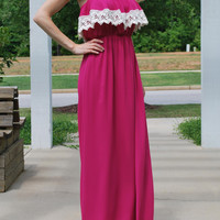 Southern Bell Crochet Trim Maxi Dress - Berry