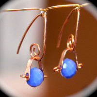 Blue Faceted Copper Earrings, Tiny Earrings, Pick Copper or Solid Sterling Silver Ring, Metal Worked Earrings