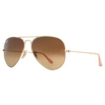 Kalete Ray Ban RB3025 112/85 Matte Gold Brown Gradient Original Aviator Sunglasses