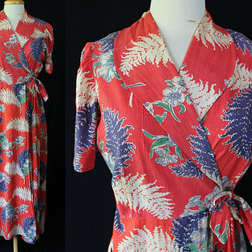 1930s 40s Robe, Shawl Collar, Floral Print, Dressing Gown