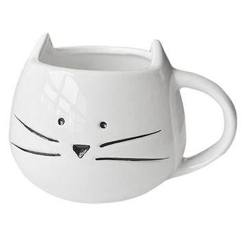 Coffee Cup Black Cat Animal Milk Cup Ceramic Lovers Mug Cute Birthday gift,Christmas Gift(White)
