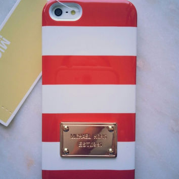 New Mk Red And White Strips Iphone 5/5s Case Cover (Michael Kors)