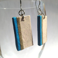 Striped Hanji Paper Dangle Earrings OOAK Striped Ivory Blue Green Hypoallergenic hooks Lightweight