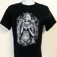 Men's Marilyn Monroe California Republic Gun T Shirt Guns Cali sexy tattoo