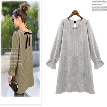 Bowknot winter Maternity Dresses Vestido Gestante Roupa Gestante Pregnancy Clothes For Pregnant Women bottoming knit skirt@DWZ = 1945717252