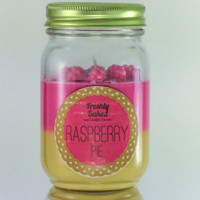 Raspberry Pie Soy Wax Candle (No Phthalates, Vegan, Hand Poured, Mason Jar), 10 oz. Dual Scented and Color