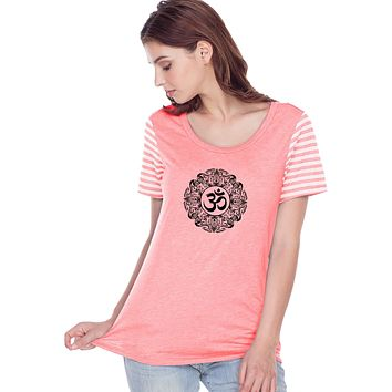 Yoga Clothing For You Black Ornate OM Striped Multi-Contrast Yoga Tee Shirt