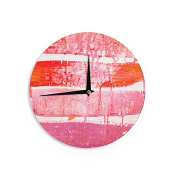 "Iris Lehnhardt ""Coral Paint Wash"" Pink Red Wall Clock"