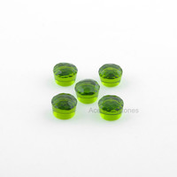 Peridot Quartz Faceted 12 mm Round Gemstone, 8mm High Calibrated Cabochon, Loose Gemstone - 5pcs.