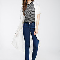 Tonal Topstitched Skinny Jeans