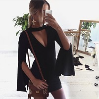 Women Simple Fashion Hollow V-Neck Split Long Sleeve Pagoda Sleeve Bodycon Solid Color Mini Dress