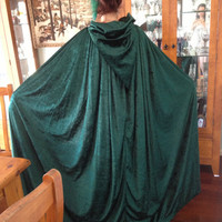 Forest Green Crushed Velvet Cloak w/ Bronze Clasp