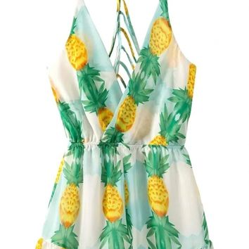 Pineapple Crush Strappy Back Surplice Rompers - OASAP.com