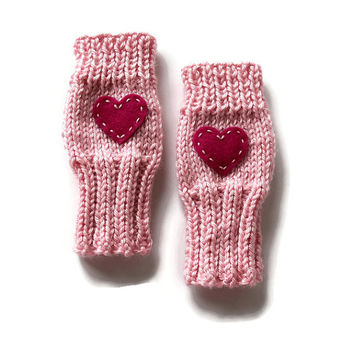 Cute Toddlers Fingerless Gloves, Valentine Kids Gloves, Sweetheart Gloves, Valentine Heart Gloves, Pink Heart Gloves, Small Cute Kids