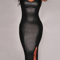 Black Faux Leather Slit Bodycon Dress