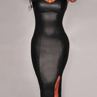 Black Pu Leather Bodycon Dress