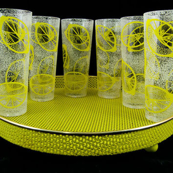 Vintage 1960s Yellow Frosted Lemon Glass Serving Set - Six Glasses with Yellow Metal Mesh Serving Tray - Iced Tea Highball