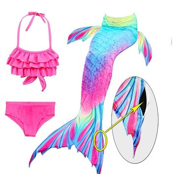 New Arrival Children Swimming Mermaid Tails with Monofin Fin Girls Ariel Bathing Suit Swimmable Mermaid Tail Costume Child Kids
