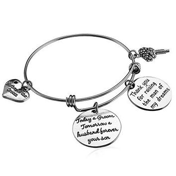 Alxeani Wedding Gift for Mother of the Groom Bangle Bracelet from Bride to MotherinLaw Wedding Thank You Gift