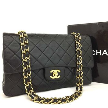 CHANEL Double Flap 25 Quilted CC Logo Lambskin w/Chain Shoulder Bag Black/b439