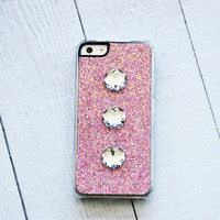 Bling iPhone 5s Case Glitter iPhone5 Case Pink iPhone Cover iPhone5 Case Rhinestone iPhone5 Case Pink iPhone 5 Case Pink iPhone 5s
