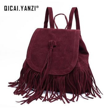 2017 Vintage Tassels Womans Backpack Ladies Leisure Pocket Book Fashion Suede Backbags Girls Schoolbag  Knapsack Travel Books Bag P526