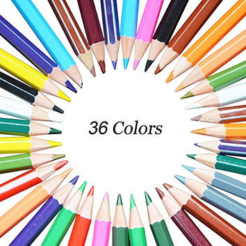 Georgie Art Painting Drawing Sketch Marker 36 Assorted Color Exclusive Wooden Colorful Pencils for Secret Garden Adult Coloring Books Highlighter Scrapbooking,Best Christmas Gift, Set of 36