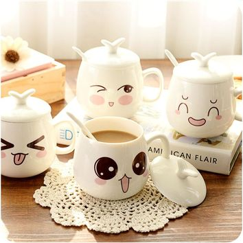 HOT Cheap NEW Free shipping cartoon cute lovers mug cup glass ceramic cup personalized expression cup with handle lid and spoon