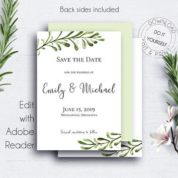 Greenery Wedding Save the Date, Invitations, Rustic, Customize, Watercolor, Template, Engagement,Card,Save Date Template,Save the Date Cards