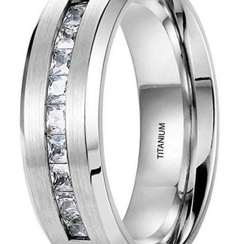 CERTIFIED 8MM Titanium Ring Wedding Band Brushed Top Channel Set Princess Cut CZ