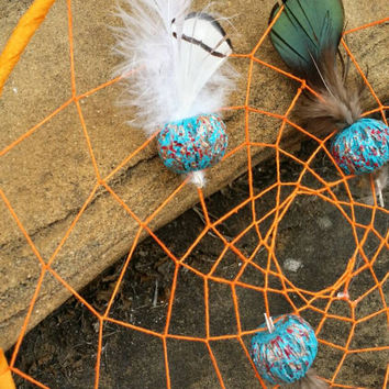Dream Catcher - Large Orange Dreamcatcher - Wall hanging - Wall Art- Native America - Handmade - Beads Feathers - Tribal Decor - 9 inch