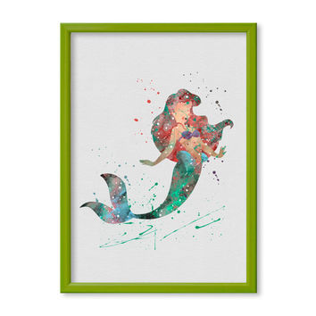 The Little Mermaid Ariel FRAMED Poster Princess Ariel Watercolor Print Disney Watercolor Kids art Nursery Art