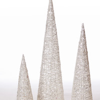 "Set of 3 Glittered Sequin Tree  - 12"" - 18"" - 24"" - White"