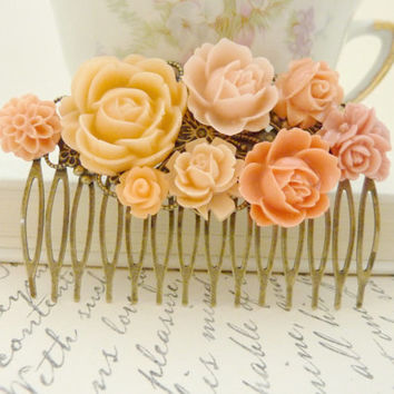 Peach Orange hair Comb Wedding Floral Collage Vintage flower Victorian Bridal Hair Head piece