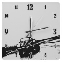 Jeep Wranger Rolling shot Wallclocks from Zazzle.com