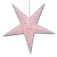"Glitter Pink Swirl 5 Point Paper Star Lantern With 12"" White Electric Cord SLPPWHNO"