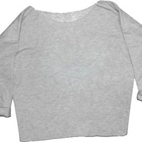 80's French Terry Off the Shoulder Ladies Sweatshirt Top