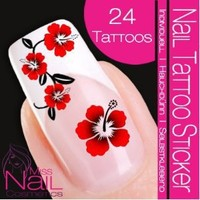 Nailart NAIL TATTOO STICKER - hibiscus / flower / blossom - red