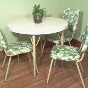Elegant Three, Kitchen Chairs, Retro, 1950u0027s, Dinette Chairs, Vinyl Chai