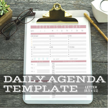 Daily Agenda Planner Template Digital Download    Printable & Editable    Fillable PDF Form    Size 8.5 x 11