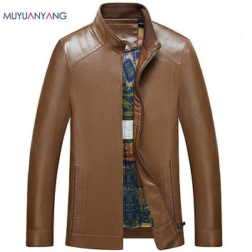Men's Leather Coat Standing Collar Casual Leather Jackets Men Zipper Faux Leather Coats