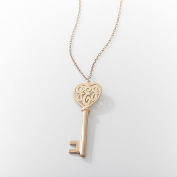 Monogram Heart Key Pendant