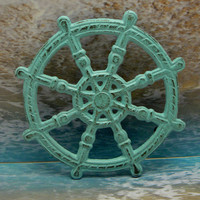 Ships Wheel Captain Sailors Helm Wheel Cast Iron Trivet Hot Plate Beachy Light Blue Distressed Shabby Cottage Chic Nautical Coastal Decor