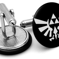 Zelda Triforce Symbol Silver Cufflinks