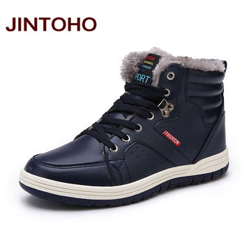 JINTOHO Winter Men Fashion Leather Boots Casual Men Leather Moccasin Brand Winter Men Shoes Men Ankle Boots Cheap Cowboy Boots