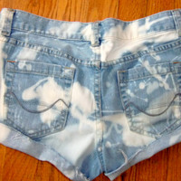 Meteor Shower Shorts. Destroyed Bleached Denim Jean shorts Size 3 low rise. Blue and white.