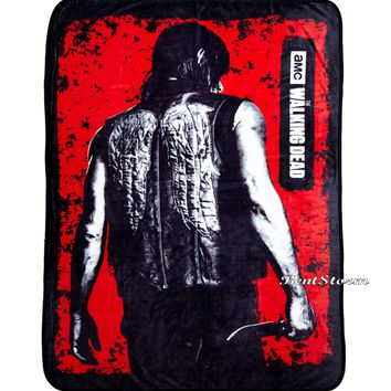 "Licensed cool AMC The Walking Dead Daryl Dixon Wings Plush Soft Fleece Throw Blanket 45""x60"""