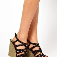 New Look Faye Black Studded Wedges