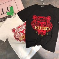 """Kenzo"" Unisex Casual Fashion Tiger Head Letter Embroidery CoupleShort Sleeve T-shirt Top Tee"